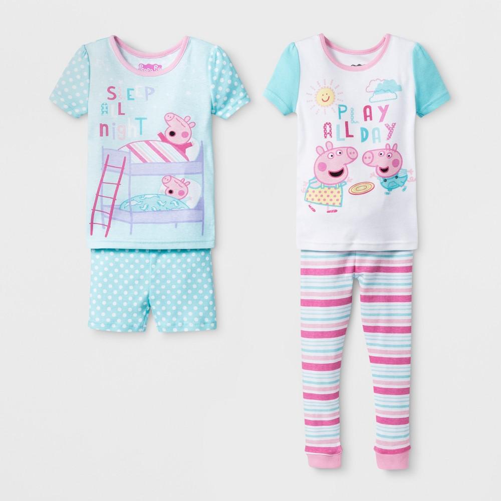 Toddler Girls' Peppa Pig 4pc Pajama Set - Aqua 2T, Blue