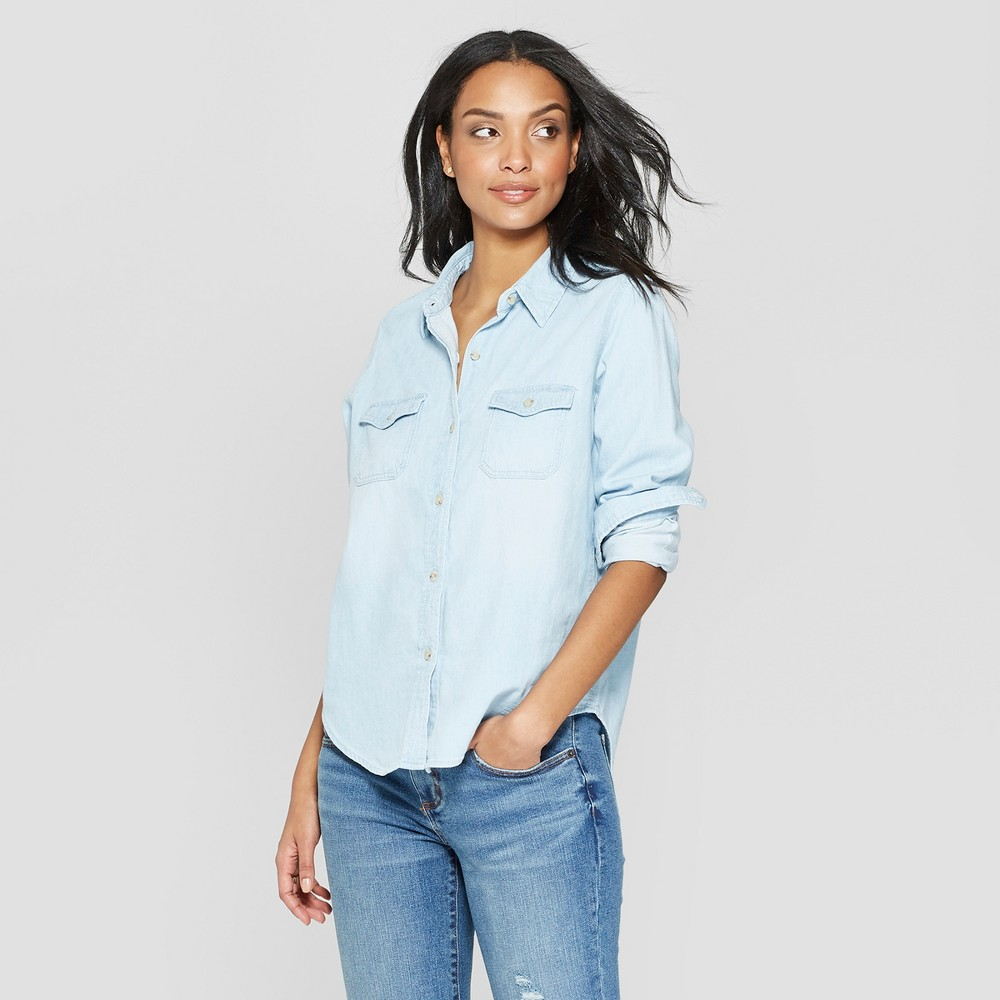 Women's Long Sleeve Collared Labette Denim Shirt - Universal Thread Light Wash Xxl, Blue