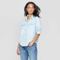 16a56b3e Women's Long Sleeve Collared Labette Denim Shirt - Universal Thread™ Light  Wash