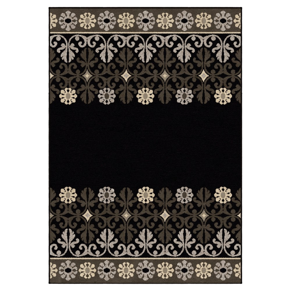 Black Solid Woven Area Rug - (7'10