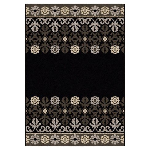 "Black Solid Woven Area Rug - (7'10""X10'10"") - Orian - image 1 of 4"