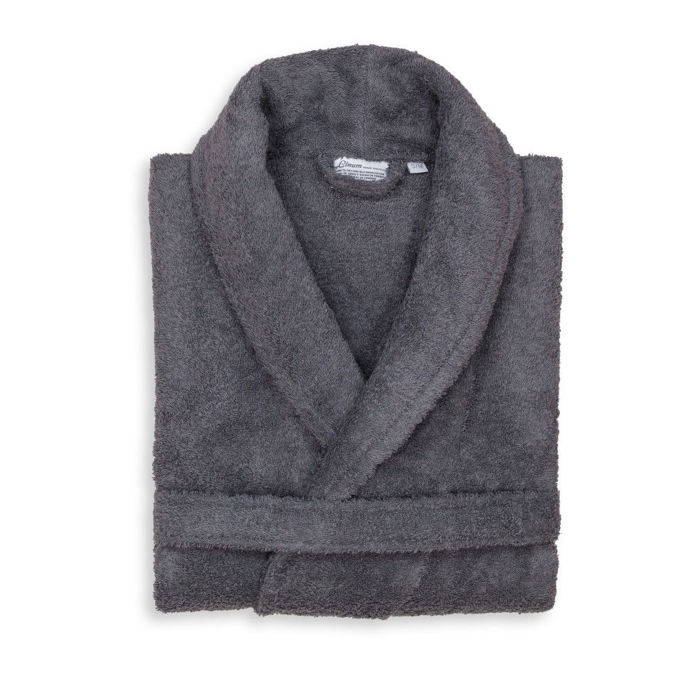 Terry Cloth Solid Bathrobe Gray - Linum Home Textiles, Size: L/XL