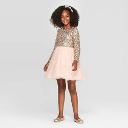 Girls' Long Sleeve Sequin Dress - Cat & Jack™ Blush
