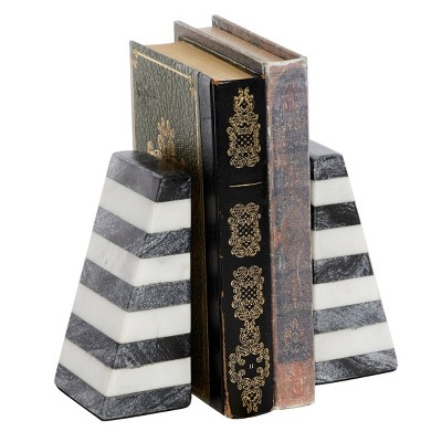 "5.75"" x 4.7"" Modern Striped Marble Bookends Gray/White - Venus Williams Collection"