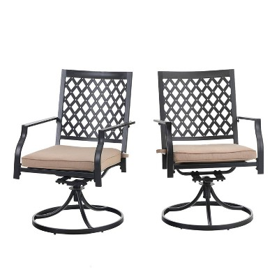 2pc Outdoor Metal Swivel Rocking Chairs with Cushions - Captiva Designs