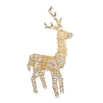 "Northlight 48"" Pre-Lit White LED Upright Standing Reindeer Christmas Outdoor Decoration"