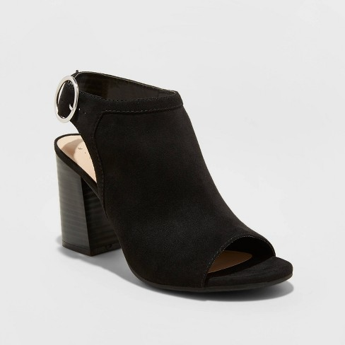Women's Rhea Microsuede Open Toe Stacked Heeled Pumps - A New Day™  - image 1 of 3