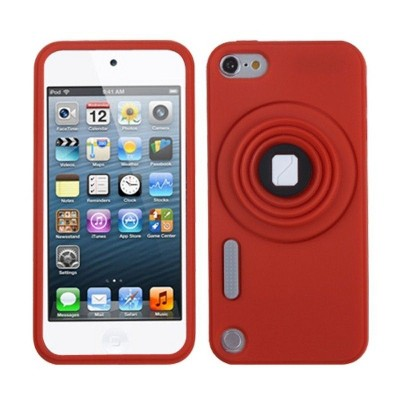 MYBAT For Apple iPod Touch 5th Gen/6th Gen Red Camera Style Silicone Case w/stand