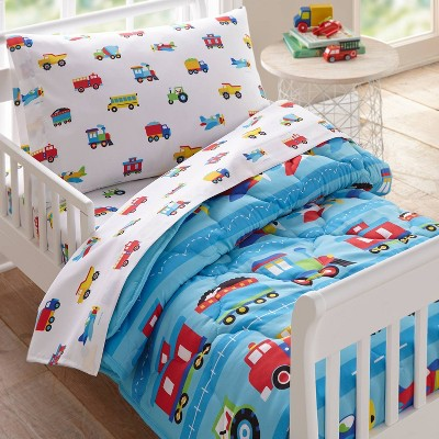 4pc Toddler Trains with Planes and Trucks Microfiber Bed in a Bag - WildKin