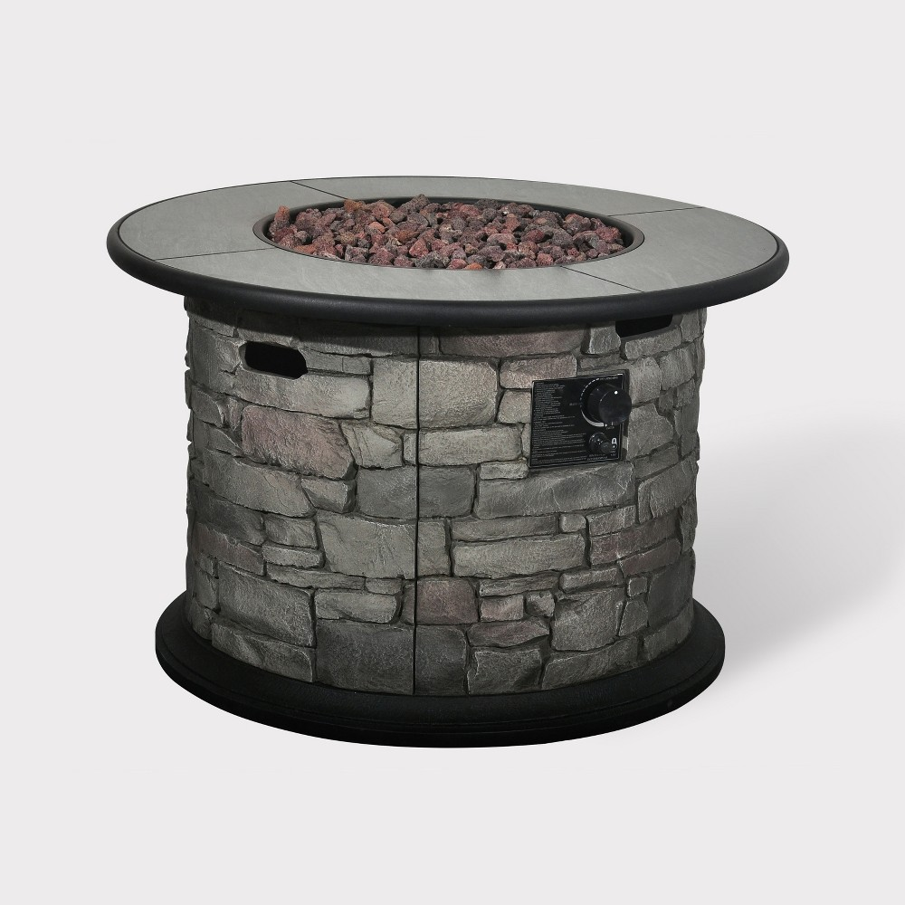 Finley Point 24 Stone Fire Table - Dark Gray - Bond