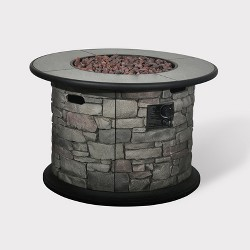 "Finley Point 24"" Stone Fire Table - Dark Gray - Bond"