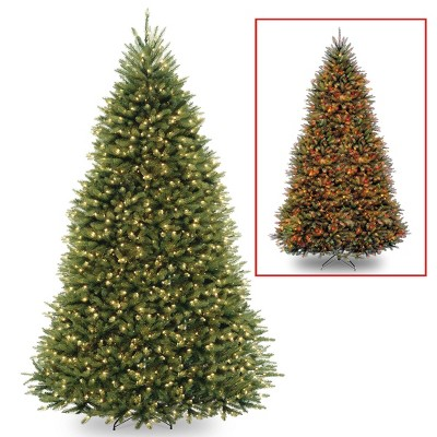 9ft National Tree Company Pre-Lit Dunhill Fir Hinged Full LED Artificial Tree with 900 Low Voltage Dual Led Lights with 9 Function Footswitch