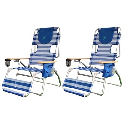 Ostrich 3-N-1 Altitude Outdoor Reclining Patio Beach Lounge Chair, Blue (2 Pack)
