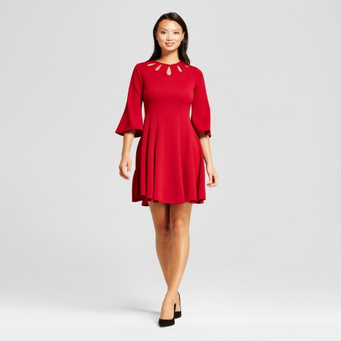 Women's Bellsleeve Fit and Flare with Cutout A-Line Dress - Melonie T Red - image 1 of 2