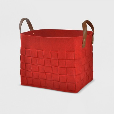 Felt Basket with Handles - Red