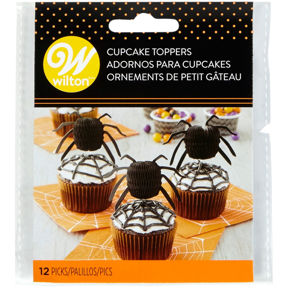 12pk Honeycomb Spider Cupcake Toppers Black - Wilton