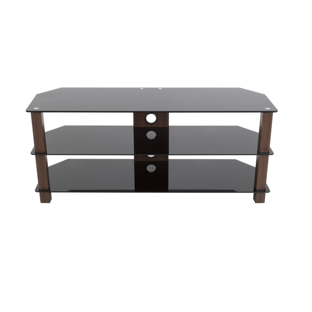 60 Valletta Corner TV Stand Walnut (Brown) - Avf Valletta is a stylish solution for your contemporary home with its oak effect legs and clear tempered glass shelving. It's shape allows it to be placed flat against a wall or into a corner of your room, providing ideal viewing angles for a larger area. The two lower shelves are perfect for your various AV components such as digital receivers, DVRs, Blu-ray, or gaming consoles. Route all cables via the built-in cable management with entry and exit points along the length of the column so that all your power and connectivity leads can easily reach your equipment in a neat and organized fashion. Color: Walnut.