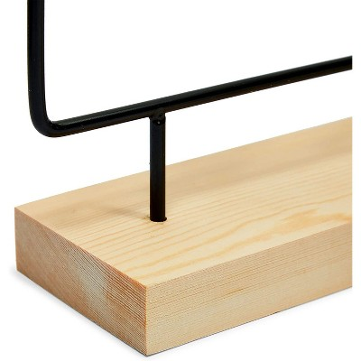Farmlyn Creek 2-Pack Black Metal Earring Holders, Modern Jewelry Holder with Wooden Stand (2 Sizes)