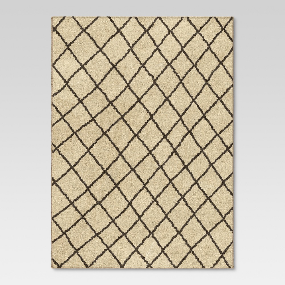 Criss Cross Fleece Area Rug - Cream (3'11