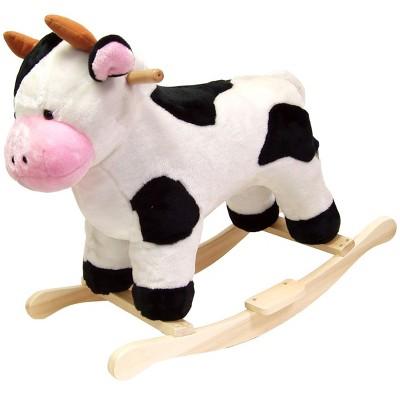 Toy Time Kids' Plush Ride-On Rocking Cow Toy - Black & White