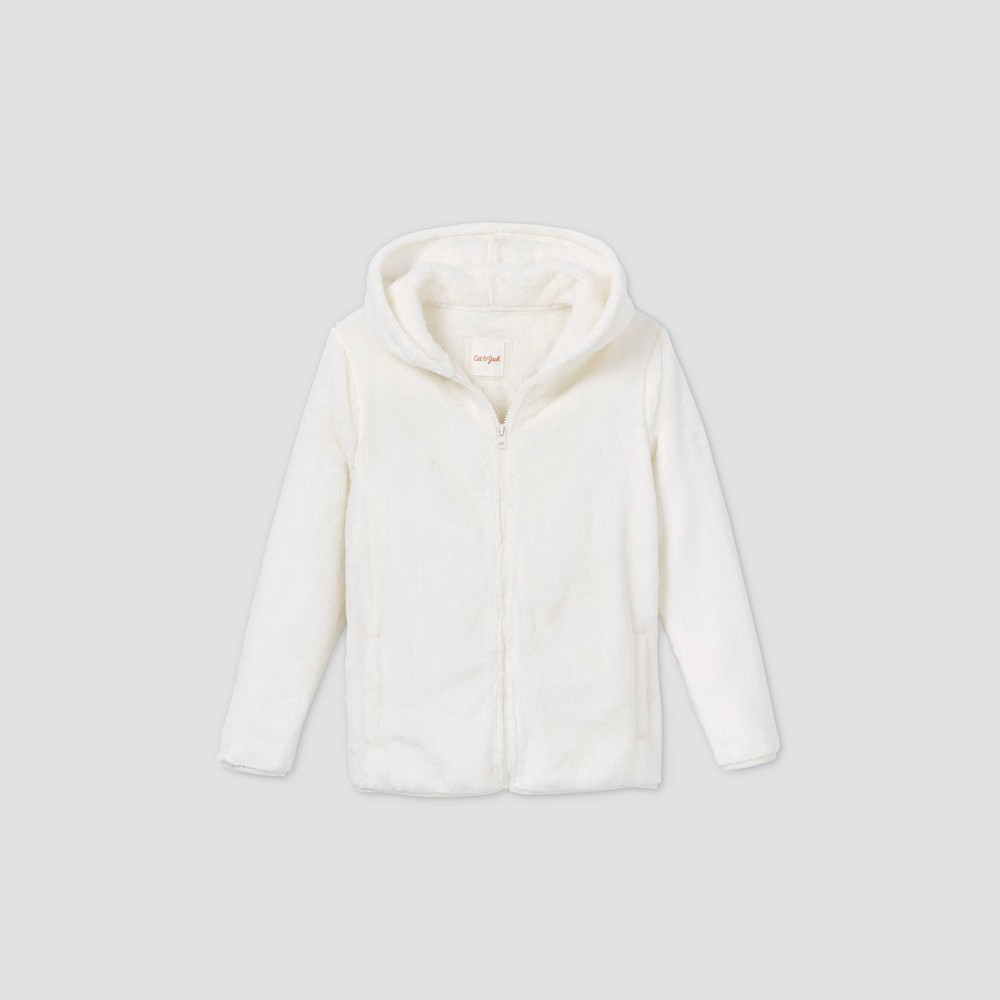 Boys 39 Full Zip Sherpa Hooded Sweatshirt Cat 38 Jack 8482 Cream L Husky
