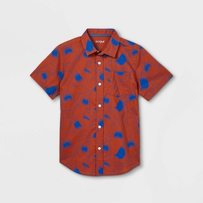 Boys' Stretch Woven Short Sleeve Button-Down Shirt - Cat & Jack™