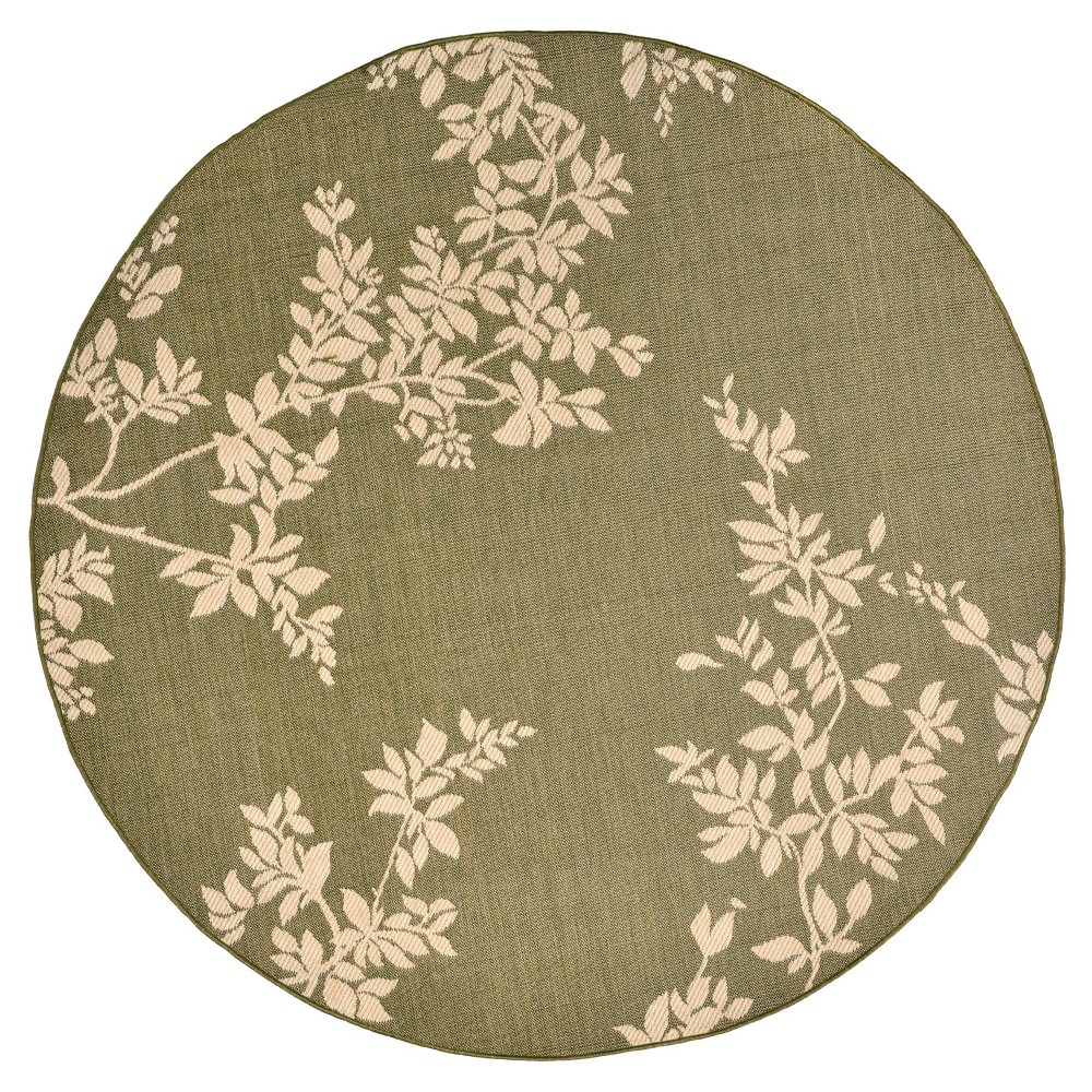 Terrace Indoor/Outdoor Vine Green Round Rug 7'10 Green - Liora Manne
