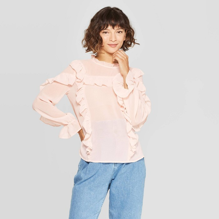 Women's Long Sleeve Turtleneck Ruffle Yoke Blouse - Who What Wear™ - image 1 of 3