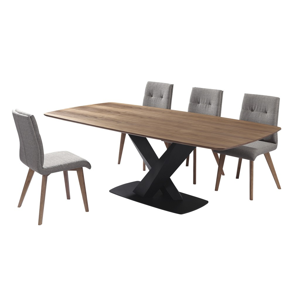 5pc Noble Mid-Century Dining Set Walnut (Brown) - Armen Living