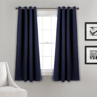 Insulated Grommet Blackout Curtain Panels Navy Pair Set 63 x52  - Lush Decor