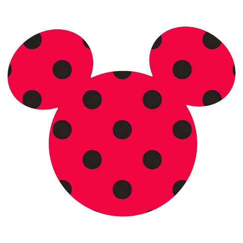 Disney Mickey Ears Small, Red with black dots, Adhesive Printed Burlap, Pack of 6 - image 1 of 1
