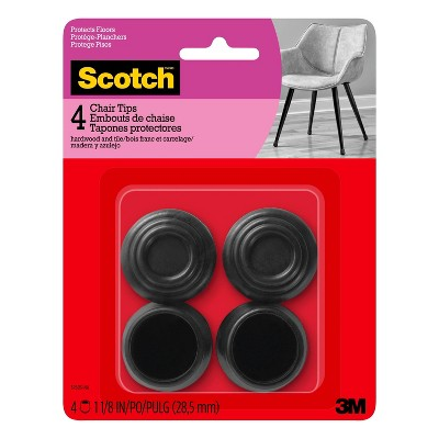 Scotch 4pk Rubber Chair Tips Black