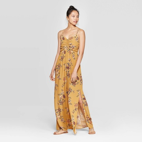 Women's Floral Print Sleeveless V-Neck Cinched Top Maxi Dress - Xhilaration™ Mustard - image 1 of 2