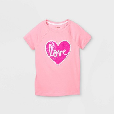 Girls' Flip Sequin Love Heart Short Sleeve T-Shirt - Cat & Jack™ Pink