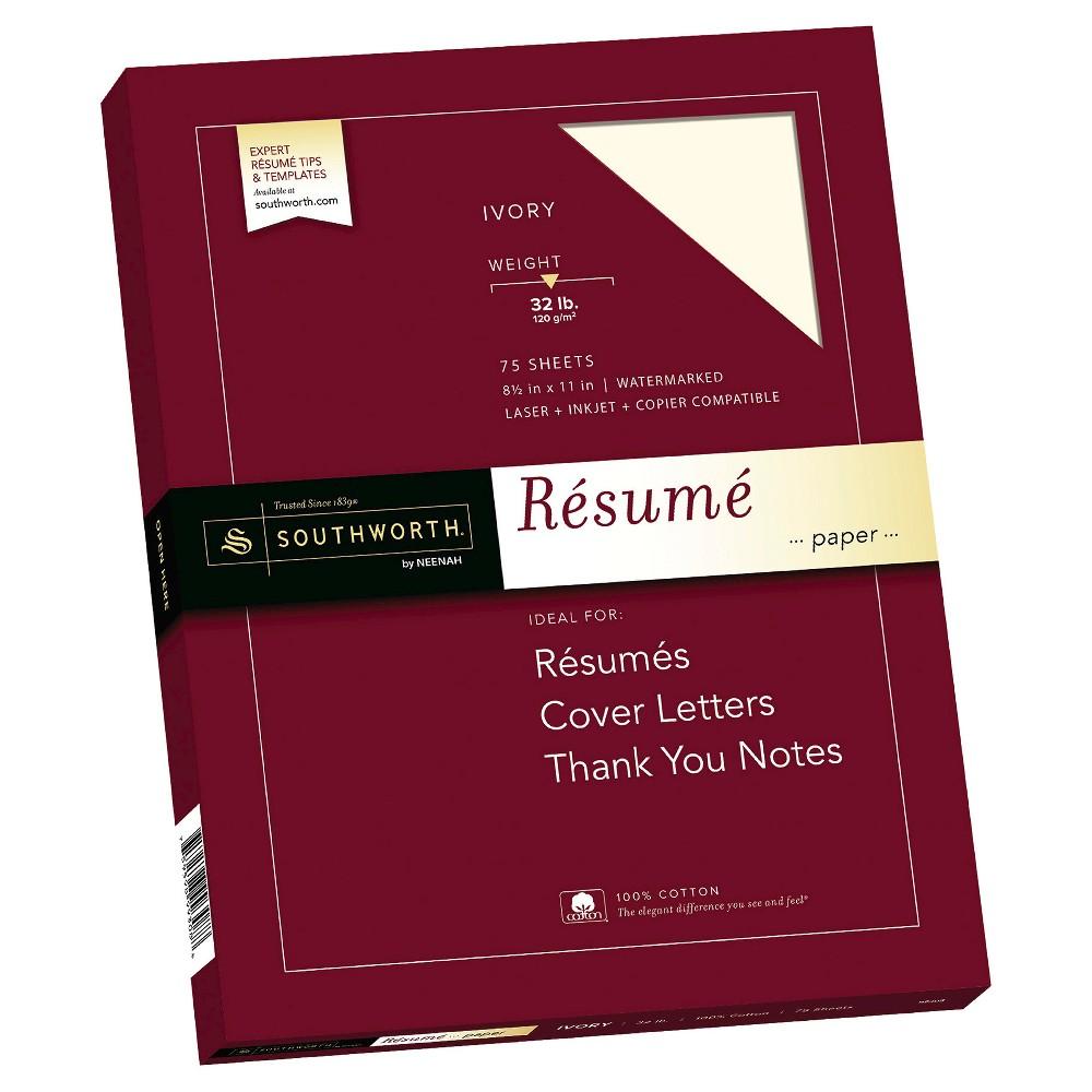 """Image of """"Southworth 100% Cotton Résumé Paper, 8.5"""""""" x 11"""""""", 32lb, Wove Finish, Ivory, 75 Sheets"""""""
