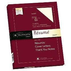 "Southworth 100% Cotton Rsum Paper, 8.5"" x 11"", 32lb, Wove Finish, Ivory, 75 Sheets"