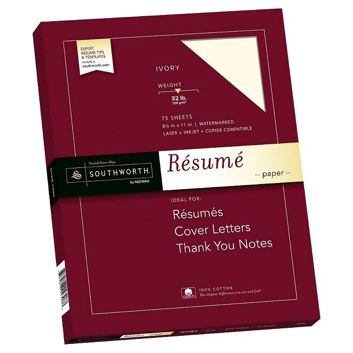 "Southworth® 100% Cotton Rsum Paper, 8.5"" x 11"", 32lb, Wove Finish, Ivory, 75 Sheets - image 1 of 3"