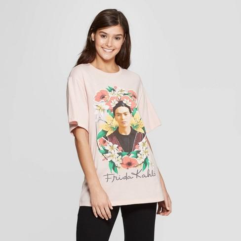 1a100fde Women's Frida Kahlo Oversized Sleep T-Shirt - Pink : Target