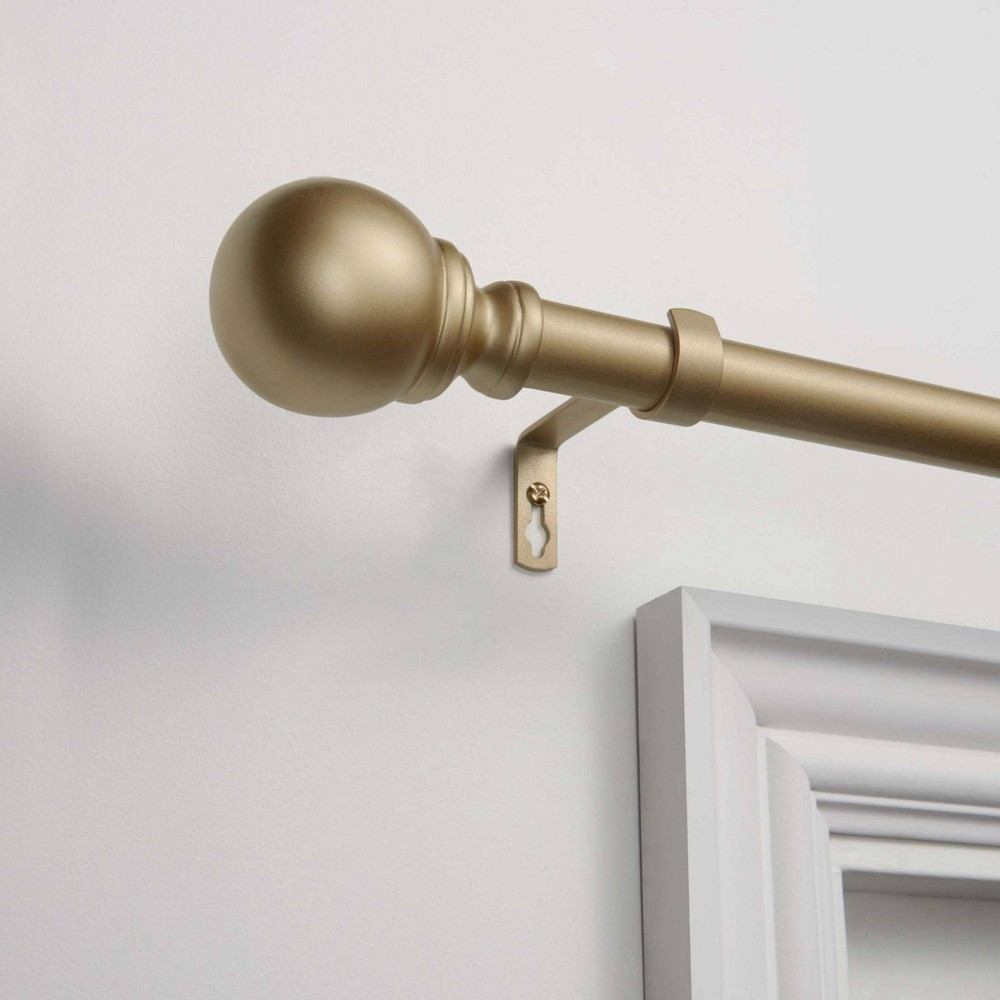 72 34 X36 34 Adjustable Sphere Curtain Rod And Coordinating Finial Set Gold Exclusive Home