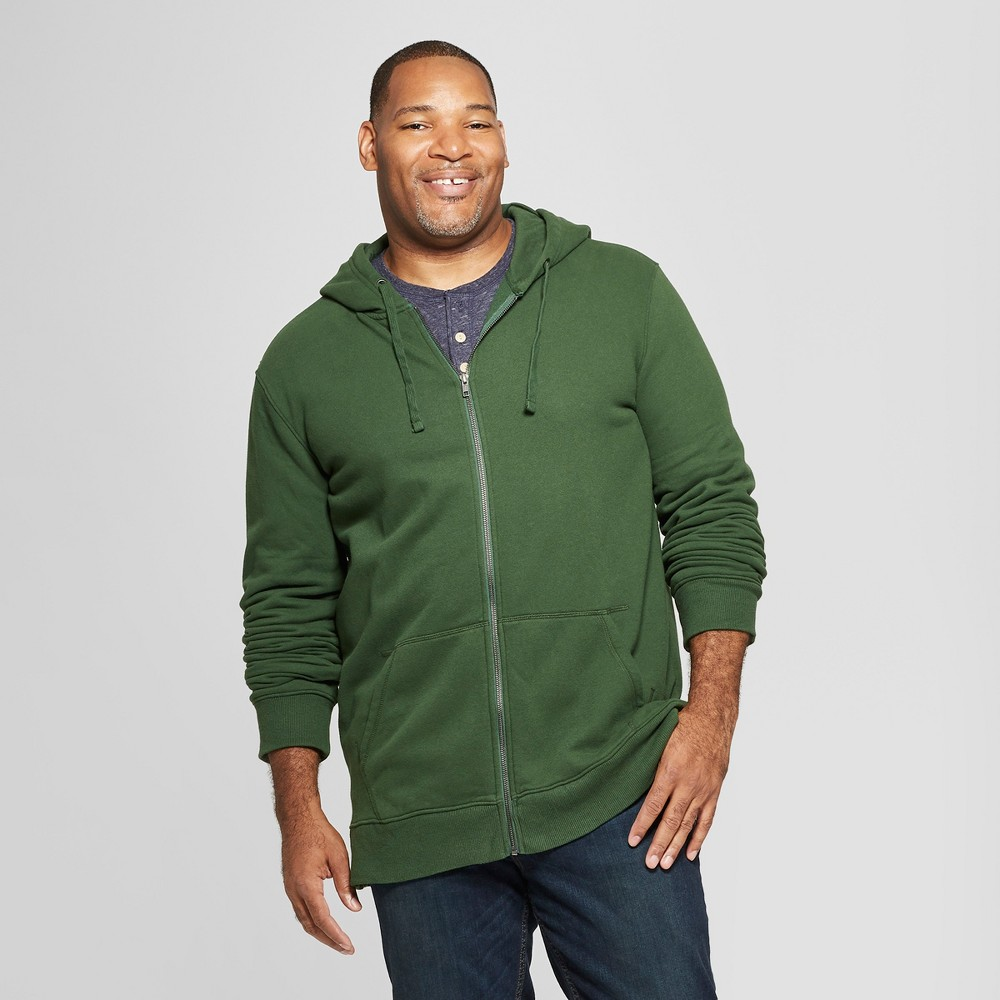 Men's Tall Long Sleeve Fleece Full Zip Hoodie - Goodfellow & Co Banyan Tree Green Xlt