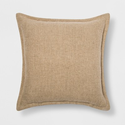 Washed Cotton/Linen Square Throw Pillow Neutral - Threshold™