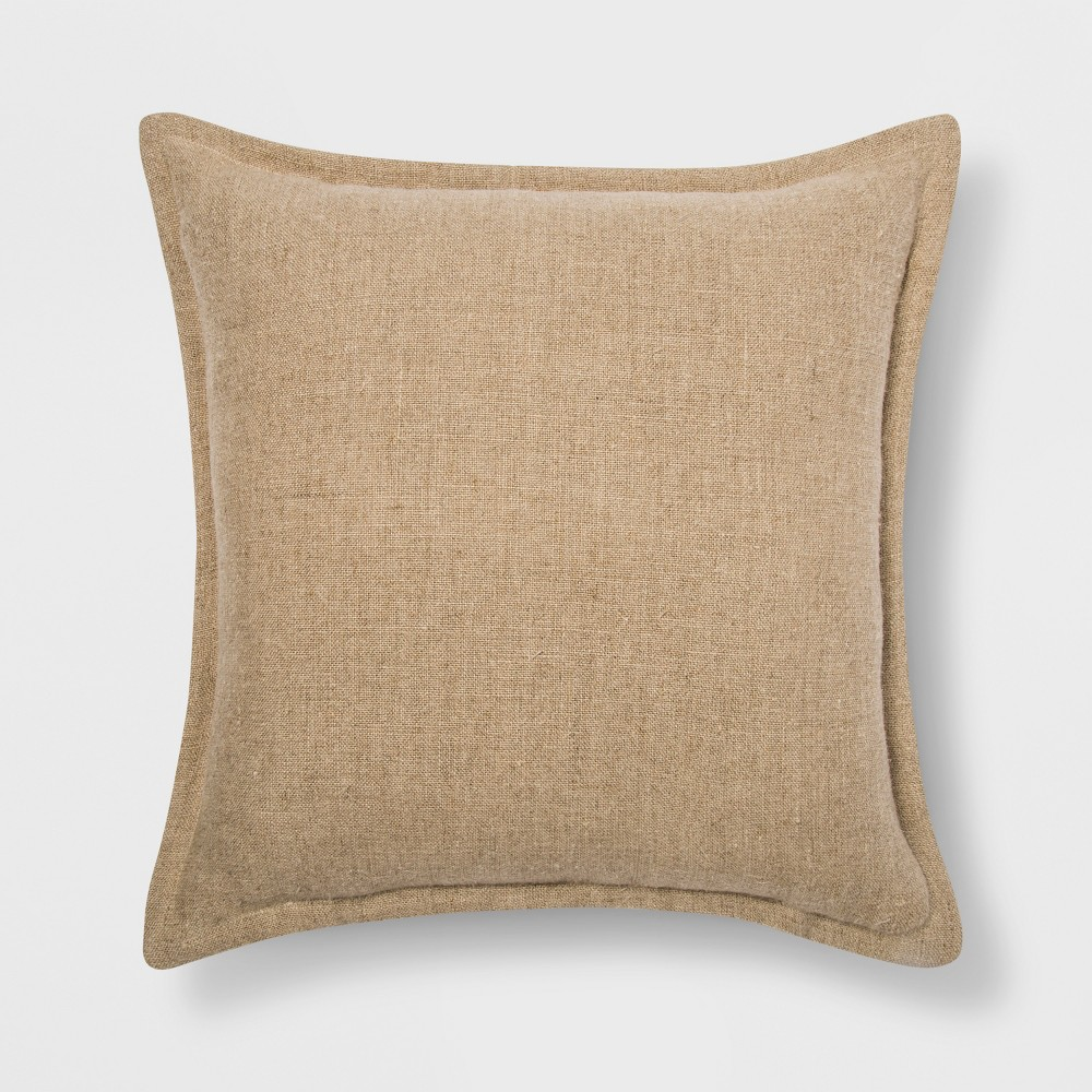 Washed Cotton/Linen Square Throw Pillow Neutral - Threshold
