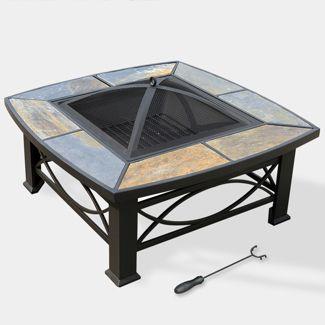 "Alba 33"" Slate Top Fire Table - Slate Gray - leisurelife"