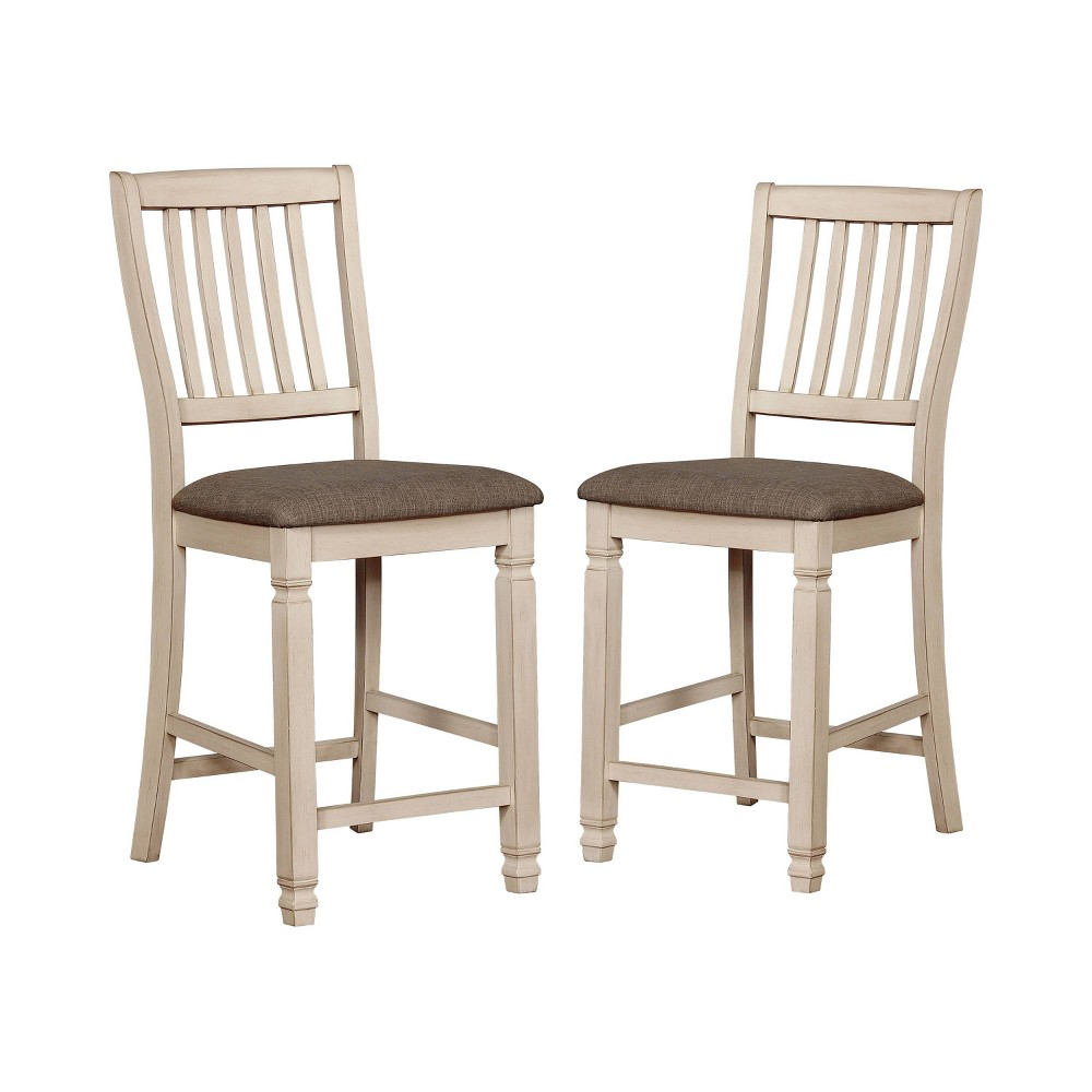 Set of 2 Dean Cushioned Wood Counter Height Dining Chair Antique White/Dark Oak - ioHOMES