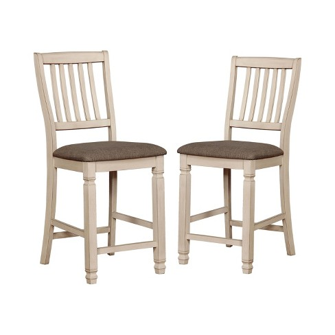 Enjoyable Set Of 2 Dean Cushioned Wood Counter Height Dining Chair Antique White Dark Oak Iohomes Pdpeps Interior Chair Design Pdpepsorg
