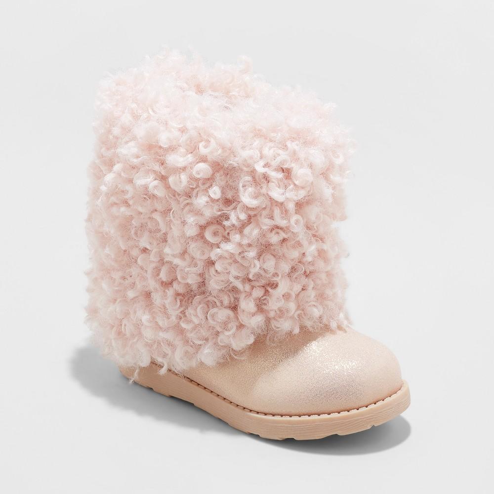 Toddler Girls' Odelette Faux Fur Ankle Fashion Boots - Cat & Jack Pink 12