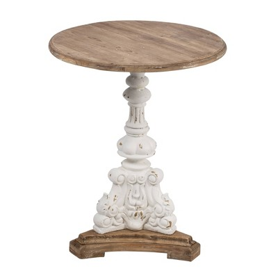 """26"""" Round Side Table Antique White/Natural - A&B Home"""