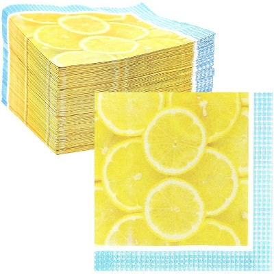 "Sparkle and Bash 150 Pack Lemon Fruit Disposable Paper Napkins 6.5"" for Summer Birthday Party Decorations"