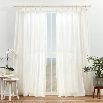 Set of 2 Duncan Braided Tab Top Sheer Curtain Panels Natural - Exclusive Home