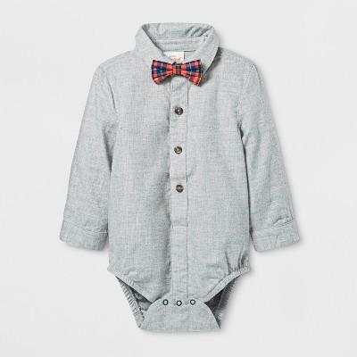 Baby Boys' Woven Bowtie Bodysuits - Cat & Jack™ Gray 0-3M